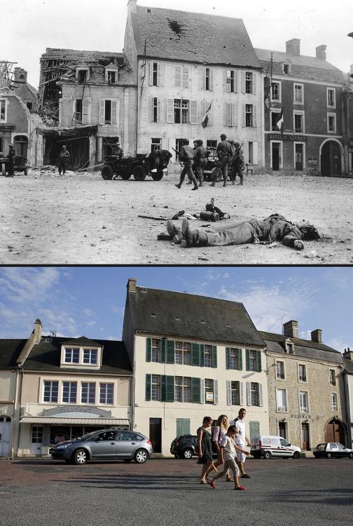 战争与和平:诺曼底登陆日今昔对比照(高清组图)