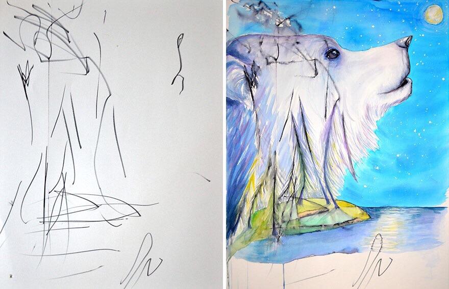 鸦上作画 赋予抽象画作以新的生命