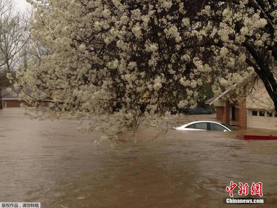 美国南部遭遇历史性洪灾 数千人被疏散(组图)