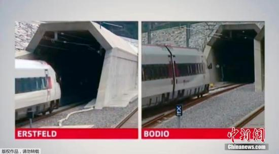 默克尔奥朗德搭首班列车 体验全球最长铁路隧道(组图)