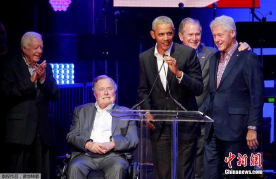 资料图:美国5位前总统――吉米・卡特、老布什、小布什、克林顿和奥巴马。
