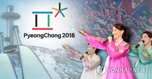 """資料圖:朝鮮向韓方提議15日在韓朝邊境板門店朝方一側的""""統一閣""""舉行工作會議,就朝鮮在平昌冬奧會期間派遣藝術團事宜進行討論。 圖片來源:韓聯社"""